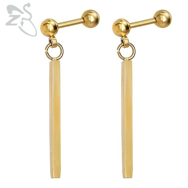 Zs Simple Long Drop Earrings Silver Gold Line Shape Dangle Earing