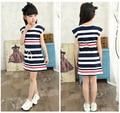 Children Girls' Clothing Black And White Stripes Summer Girl Dress 100% Cotton 3-14 Years Kids  stripes girls clothing set