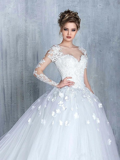 2017 Vintage Long Sleeves Lace Wedding Dresses Sweetheart Illusion ...