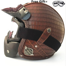 2018 Motorcycle Helmet Retro Vintage Synthetic Leather Casco Moto Cruiser Chopper Scooter Cafe Racer 3/4 Open Face Helmet DOT цена