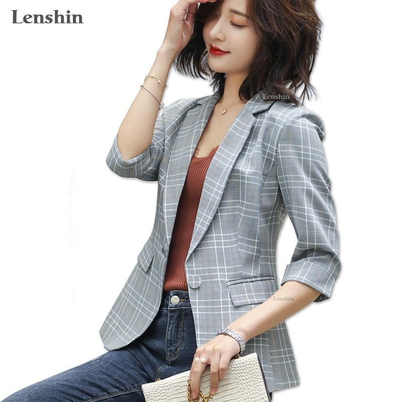 Lenshin Plaid Jacket for Women Summer Wear Female Casual Style Breathable Coat Half Sleeve Blazer Breathable Tops Outwear