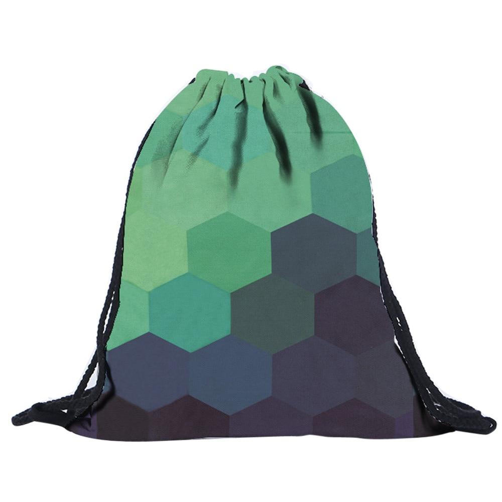 ISHOWTIENDA Drawstring Bag 2018 New Fashion Women Geometric Patterns Drawstring Backpack Unisex 3D Printing Bags Mochila Cuerda
