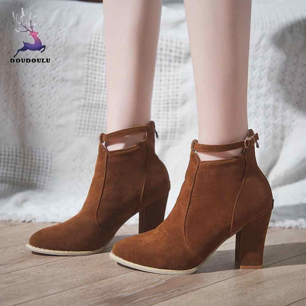 Женские сапоги Flcok лодочки, шпилька сапоги и ботинки для девочек ботильоны высокие каблуки туфли martin с ремешком и пряжкой женская обувь zapatos de mujer плюс размеры 35-42
