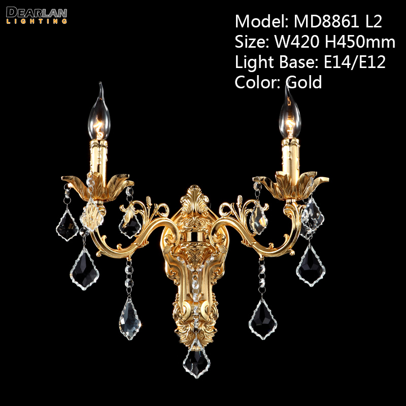 100% Guarantee 3 Lights Crystal Wall Light Brass color Wall Sconces Lamp Bronze Wall Brackets Light crystal wall light lustres wall sconces lamp bedroom wall brackets lighting fixture for bedroom living room 100% guarantee