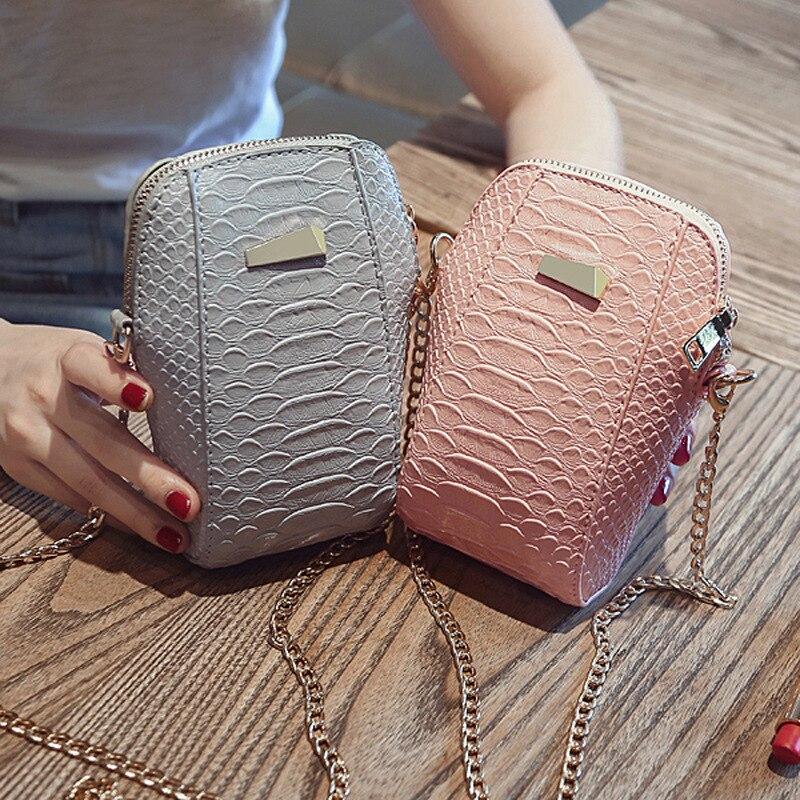 2018 Mode Krokodil Muster Mini Crossbody-tasche Für Frauen Pu Leder Kleine Weibliche Geldbörse Handy Handtasche Damen Schulter Tasche