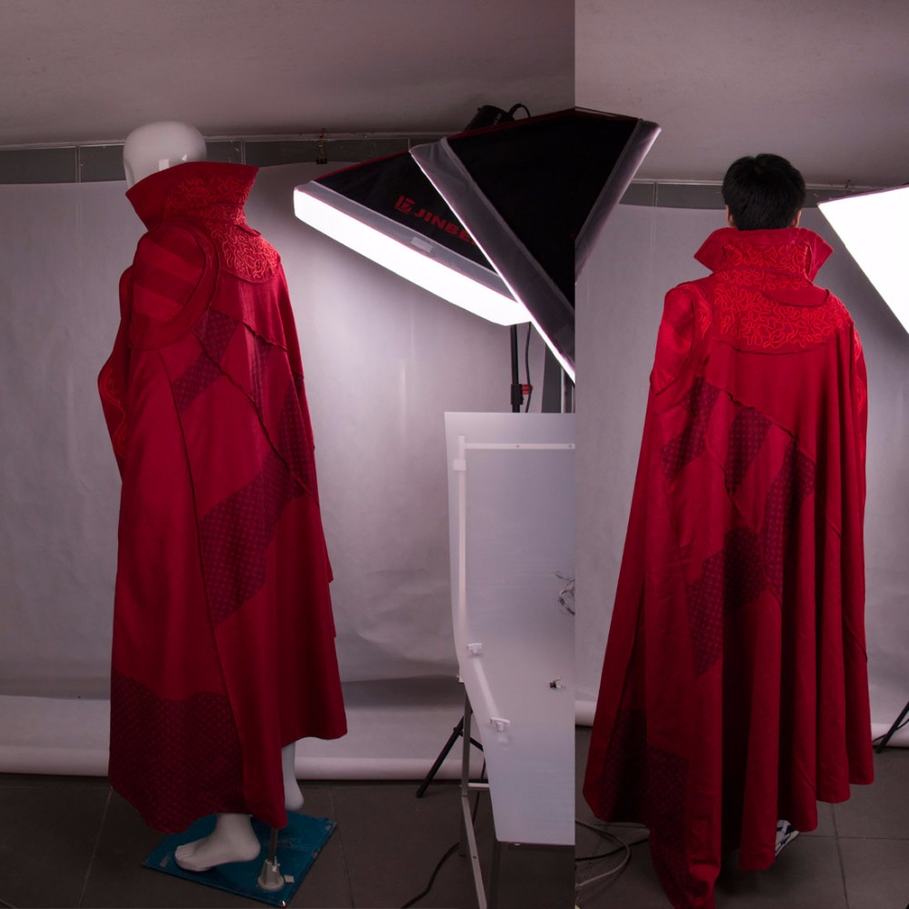 2016 Marvel Movie Doctor Strange Costume Cosplay Steve Red Cloak Costume Robe Halloween Costume Party (2)