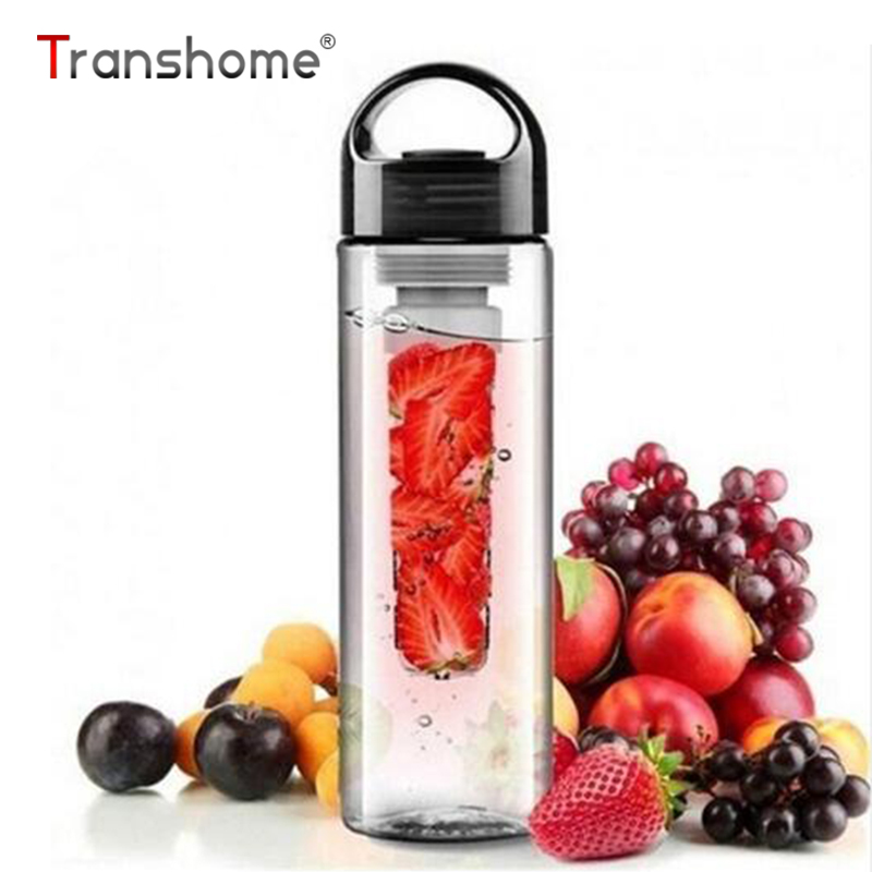 Transhome Fruit Infuser Water Bottle With Filter 700ml BPA Free Plastic Leak-proof Sport Hiking Camping Drink Shaker Bottle Tour