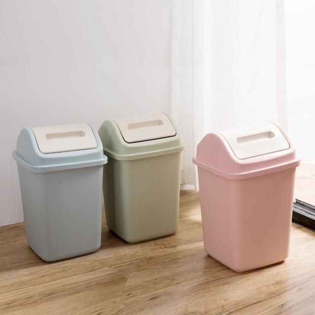 Home To Shake The Lid Trash Can Wastebasket Kitchen Simple Garbage Basket  Household Bathroom Plastic Trumpet