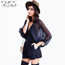 New 2016 Playsuit Rompers Womens Clothing Overalls Sexy Spring Summer Brand Casual Navy Blue Batwing Sleeve Chiffon Jumpsuit