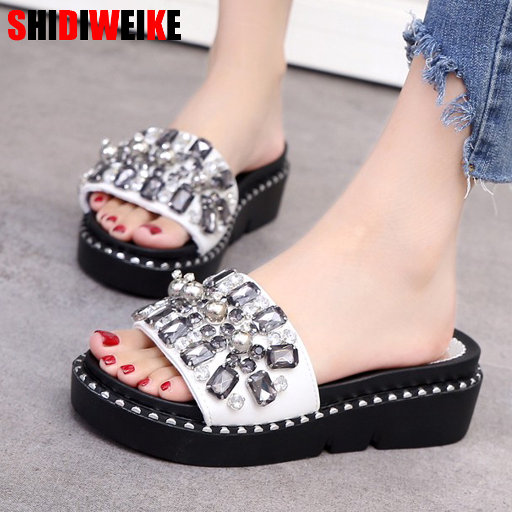 2019 Womens Slippers Summer Beach Casual Shoes Crystal Wedges Slipper Fashion Loafers Platform mujer slides womens slippers 2019 Womens Slippers Summer Beach Casual Shoes Crystal Wedges Slipper Fashion Loafers Platform mujer slides womens slippers