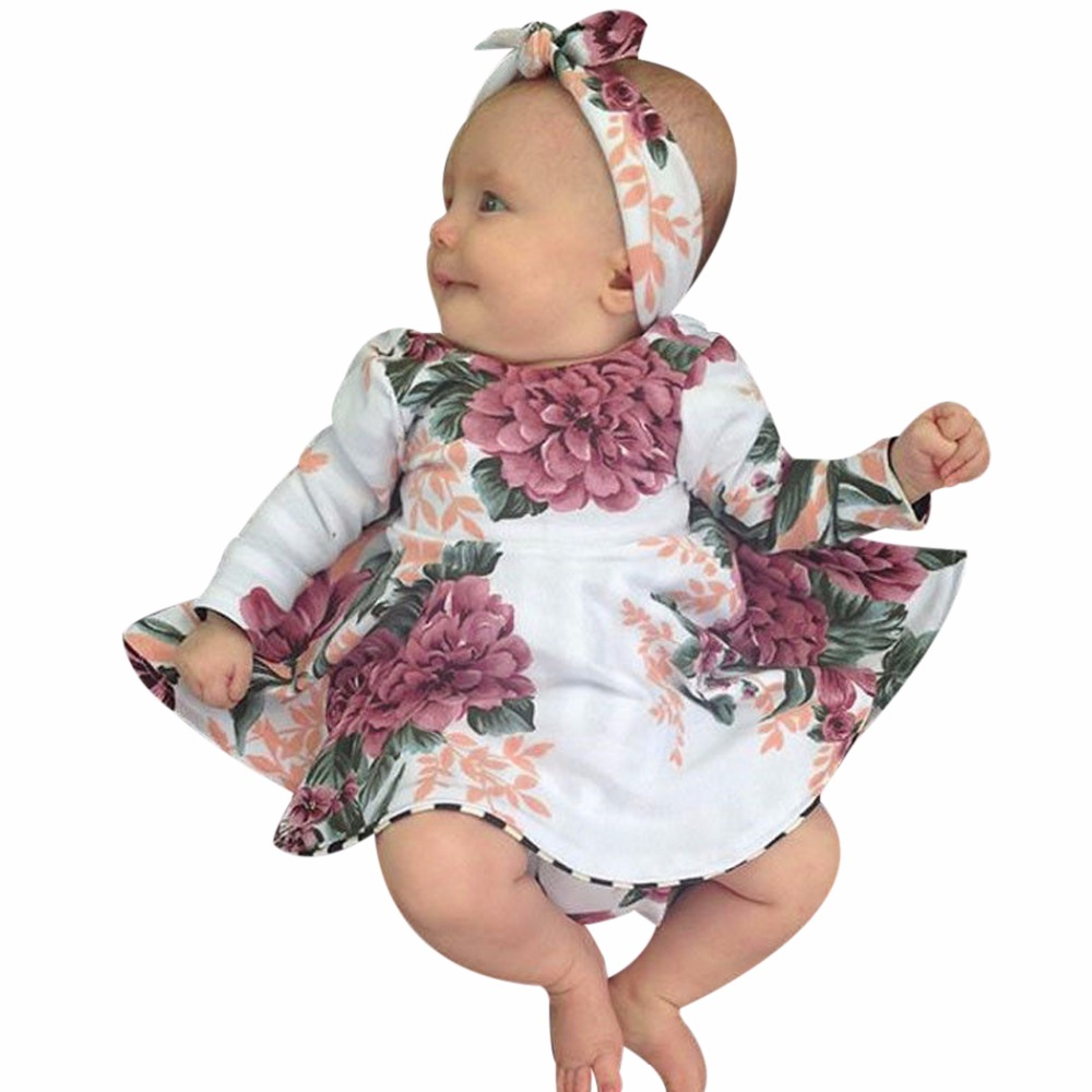 Baby Flower Clothing 2018 New Floral Baby Girls Dress Spring Long Sleeve Flower Princess Dress Kids Girls Mini Dresses Sundress