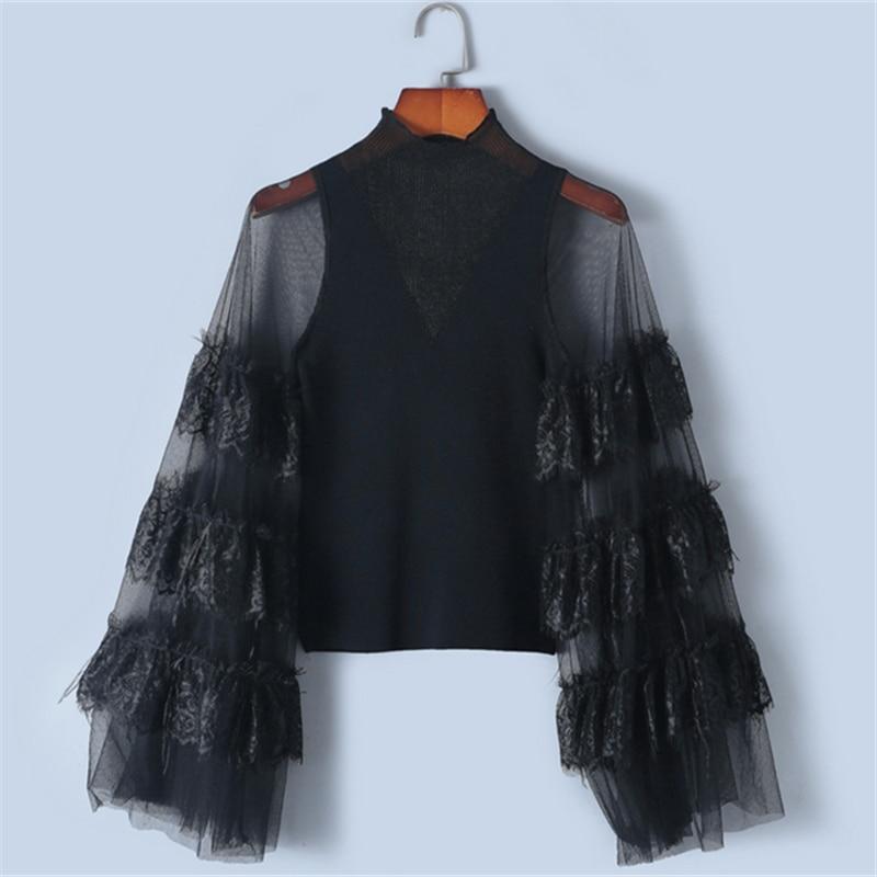 Tunjuefs Sexy transparent maille pull femmes pulls plume Patchwork top en tricot 2019 nouveau printemps Lolita Slim dentelle pull piste