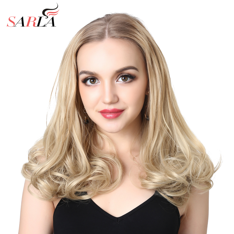 SARLA 16 Short Curl Blonde U Part Half Hair Wigs For Momen Synthetic Hair Extension Clip ...
