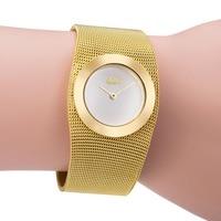 2016 Fashion 18k Gold Mesh Steel Luxury Bracelet Women Clock Casual Top Brand Design Dress Ladies