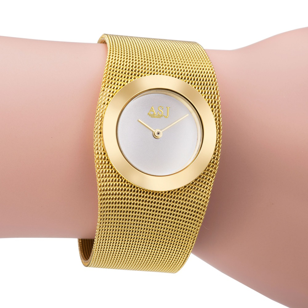 Fashion 18k Gold Mesh Steel Luxury Bracelet Women Watch Clock Casual Top Brand Dress Ladies Simple Quartz Watch Relogio Feminino kimio brand rose gold luxury slim bracelet ladies casual business waterproof clock women dress stainless steel mesh quartz watch