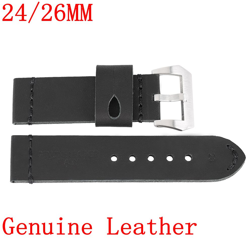 24/26MM Soft Watch Band Strap New Stainless Steel Buckle Women Genuine Leather For Men Pin Buckle Replacement Smooth Belt 20mm 22mm 24mm new soft smooth black high quality genuine leather watch band strap brushed steel clasp buckle for brand