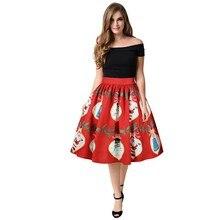 34b0c54ecb JAYCOSIN 1 punid za mujer falda Casual Navidad estampado Flare Elastic  Empire alta cintura Cosplay vestido