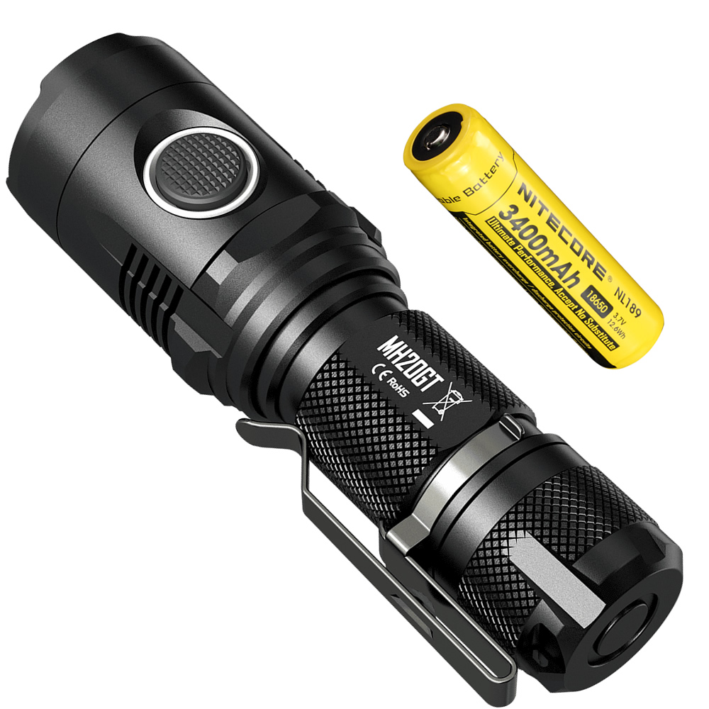 NITECORE MH20GT Micro-USB Rechargeable 1000LM LED Light Lamp Torch Waterproof Flashlight with 18650 Li-ion Battery Free Shipping nitecore mh10 1000lm xm l2 u2 led outdoor portable flashlight rechargeable usb charge kit with 18650 battery free shipping