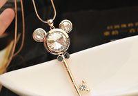 Cartoon Animal Zircon Key Chaves Bow Pendant Necklace Korean Luxury Fashion Crystal Colares Longos Colar Comprido
