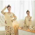 2016 New autumn Winter 2pcs Pajamas Set Women Girls Cotton Round Sleep ware Clothes 5 colors for maternity or pregnant women