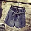 Mujeres Short Denim 4XL Más El Tamaño Sueltos Pantalones Cortos de Pierna Ancha Pantalones Vaqueros de Cintura Elástica Bolsillo Grande Ocasional Pantalon Femme Vaqueros Mujer