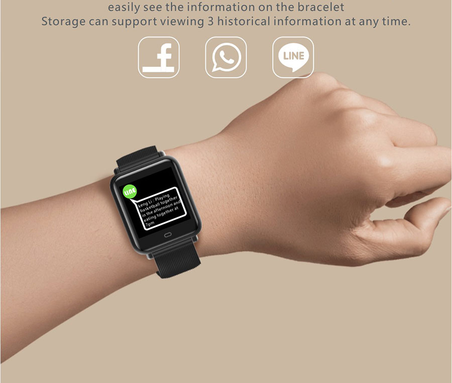 BOAMIGO NEW 2019 Smart Bracelet wristband Continuous Heart Rate Calorie Reminder Digital Sport Smart watch For Android IOS phone