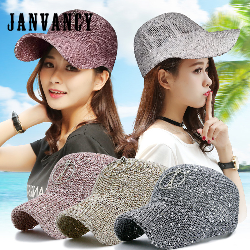 Janvancy Fashion Baseball Cap Women Bone Snapback Female Hats for Spring Summer Cotton Breathable Sequins White Pink fashion cotton butterfly pattern lace hollow jacquard hats for women summer elastic thin soft breathable beanie skullies hat