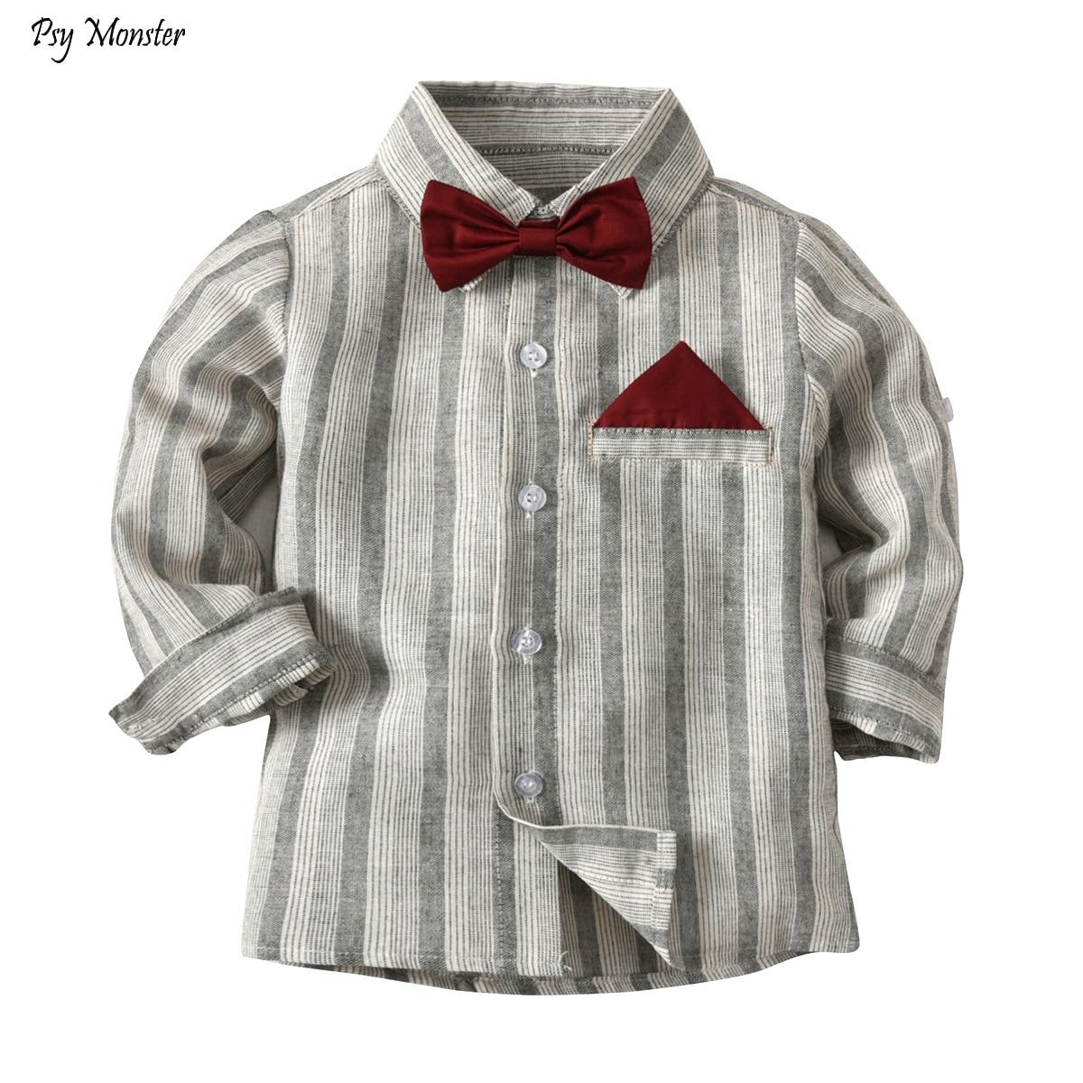 744c2a2e Boy Striped Shirt Children New Big Boy Shirt Kids Casual Gentleman Long- sleeved Bowtie Top Clothes