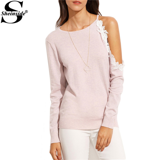 Sheinside Light Pink Knitted Cut Out Lace Long Sleeve Top 2016 Autumn Female Round Neck Pullovers Casual Sweater