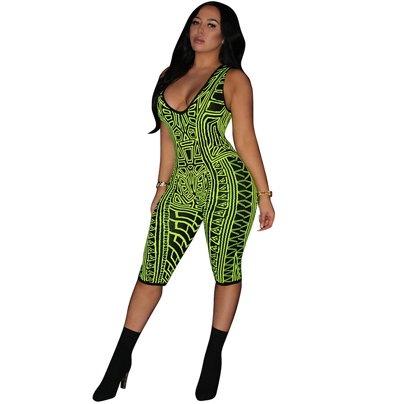 Geometric Pattern Fitness Short Playsuit Sexy Women Deep V Neck Sleeveless Bodycon Bodysuit Casual Club Party One Piece   Jumpsuit