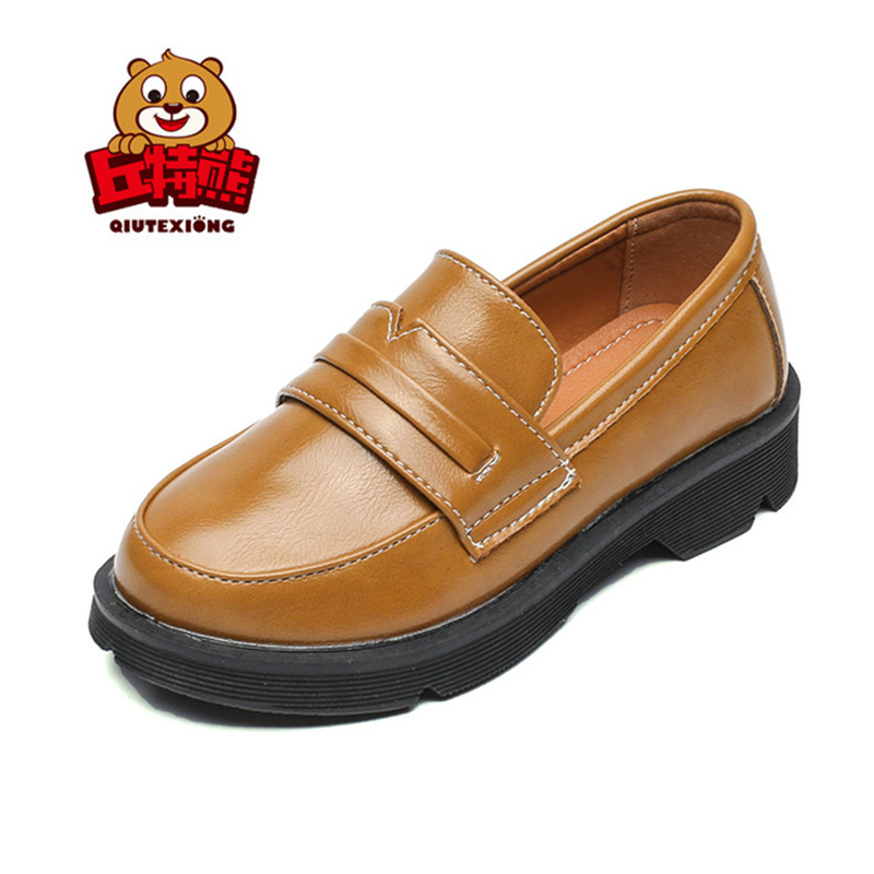 School Children Leather Shoes Kids Girls Boys PU Casual Shoes England Kids Sneakers for Party Wedding Black Fashion Boys Shoes