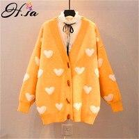 H.SA 2019 Oversized Knit Sweater Cardigans V neck harajuku Women Clothing Loose Korean Jumpers sueter mujer invierno Spring Coat