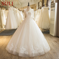 SL 19 High Quality Scoop Neck Tulle Lace Appliques Beaded Wedding Dress 2016