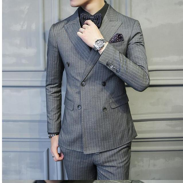 2019 New Double Breasted Suit Men S Fashion Three Piece Suit Korean