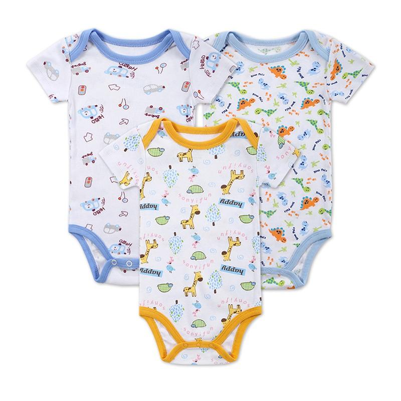 3 Pieceslot Baby Fashion Striped Short Sleeve Rompers Children Jumpsuit Newborn Boys Girls Clothes Body Roupa de Overalls (1)
