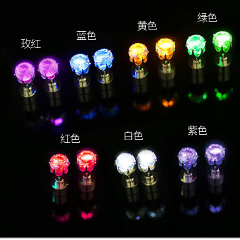 2pcs LED Bling Earrings Light Up 9 Colors Ear Studs Dance Party Accessories Blinking Gift For Friend Trendy  Fast Ship TR