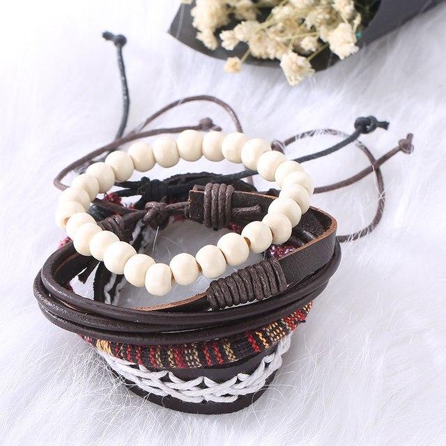 Leather Bracelet Men Boho...