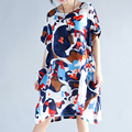 Oversize Large Size Women's Clothing 200 Pounds Obese Person Female Dresses Summer Art Fan Wash Cotton and Linen Dress for Women
