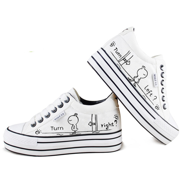 2016 Fashion Breathable Women Platform Casual Shoes White Canvas Shoes Thick Sole Skate Shoe Ladies Trainers Zapatillas Mujer
