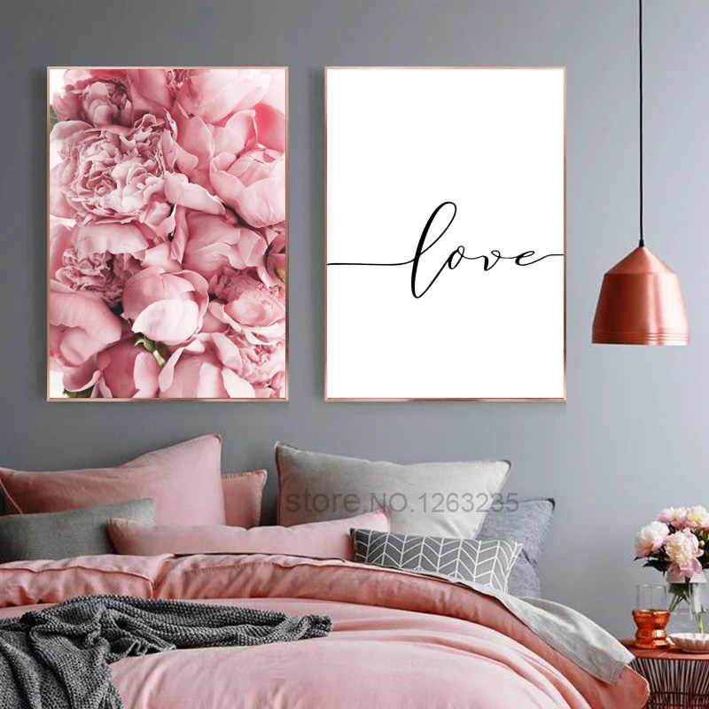 Rose Pink Flowers Wall Art Canvas Decorative Painting Nordic Posters Art Prints Home Love Peony Bedroom Decoration Unframed