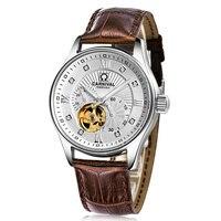 Бренд Карнавал Скелет механические часы Для мужчин Miyota 21 Jewels двигаться Для мужчин t Роскошные Алмаз Часы Кожа Водонепроницаемый Relojes Hombre