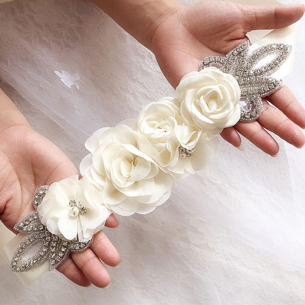 Elegant Ornaments Waistband Pearl Rhinestone Accessories Blossom Bridal Dress Beaded Handmade Sashes Wedding Belt Simulated Rose