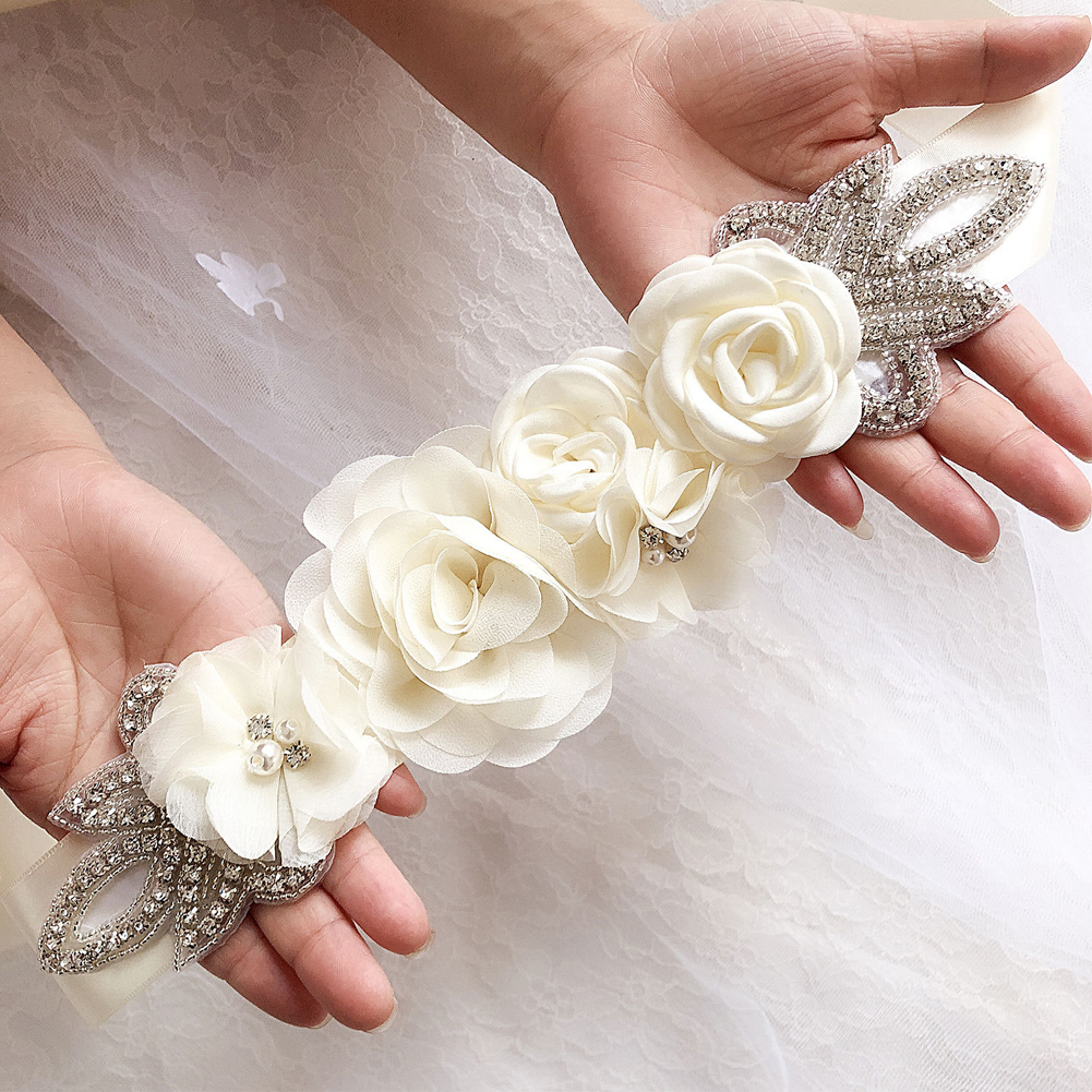 Elegant Ornaments Waistband Pearl Rhinestone Accessories Blossom Bridal Dress Beaded Handmade Sashes Wedding Belt Simulated Rose