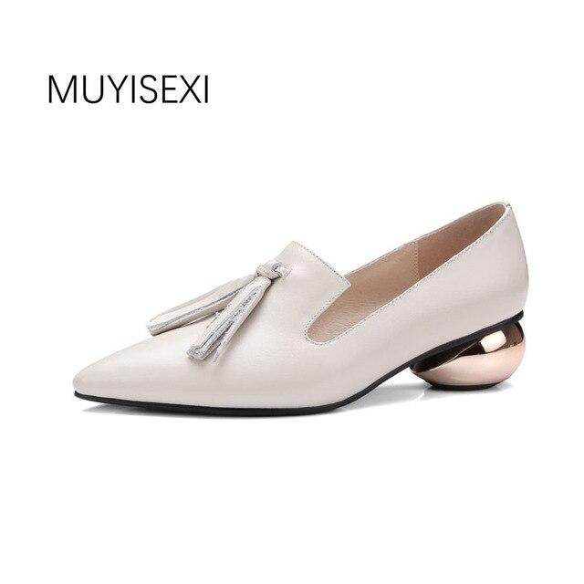 d2e4ad523b9ade MUYISEXI Plein Véritable En Cuir avec Boucle Bout Pointu Oblat Étrange Talon  Confortable Femme Chaussures Taille