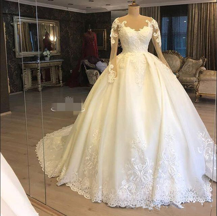 2019 New Long Sheer Neck Satin Wedding Dress With Lace Appliques Illusion Full Sleeves Zipper Back Foraml Bridal Gowns Vestidos