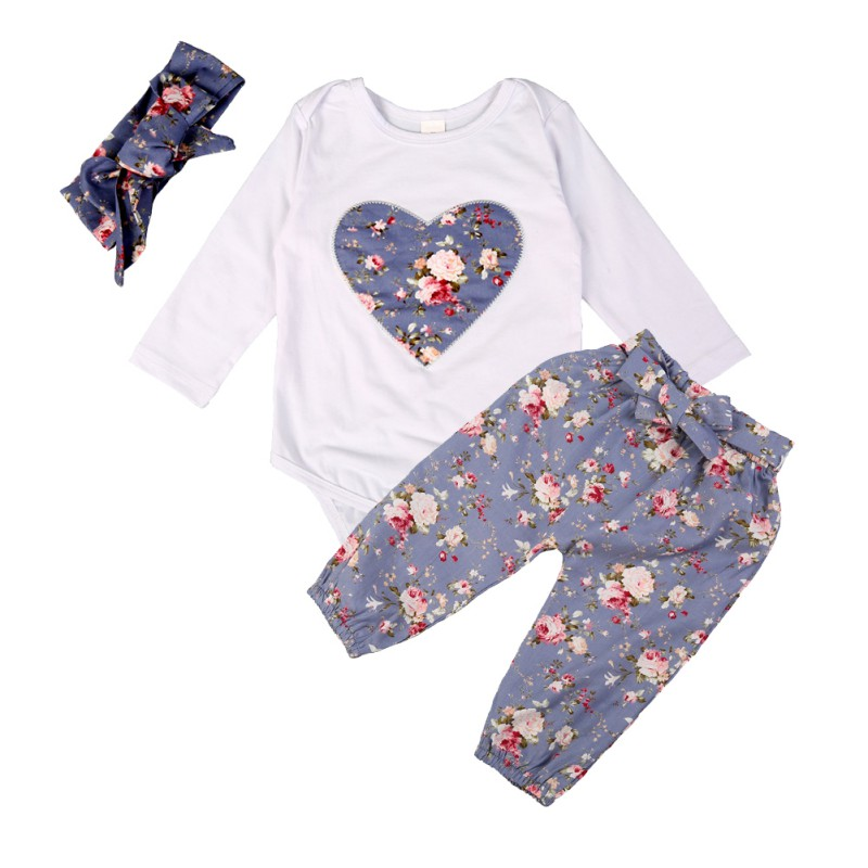 Baby Sets Pants Long Sleeve Tops Headband Boys Girls Clothes Newborn Baby Outfits Print Romper Winter Autumn Baby Clothing