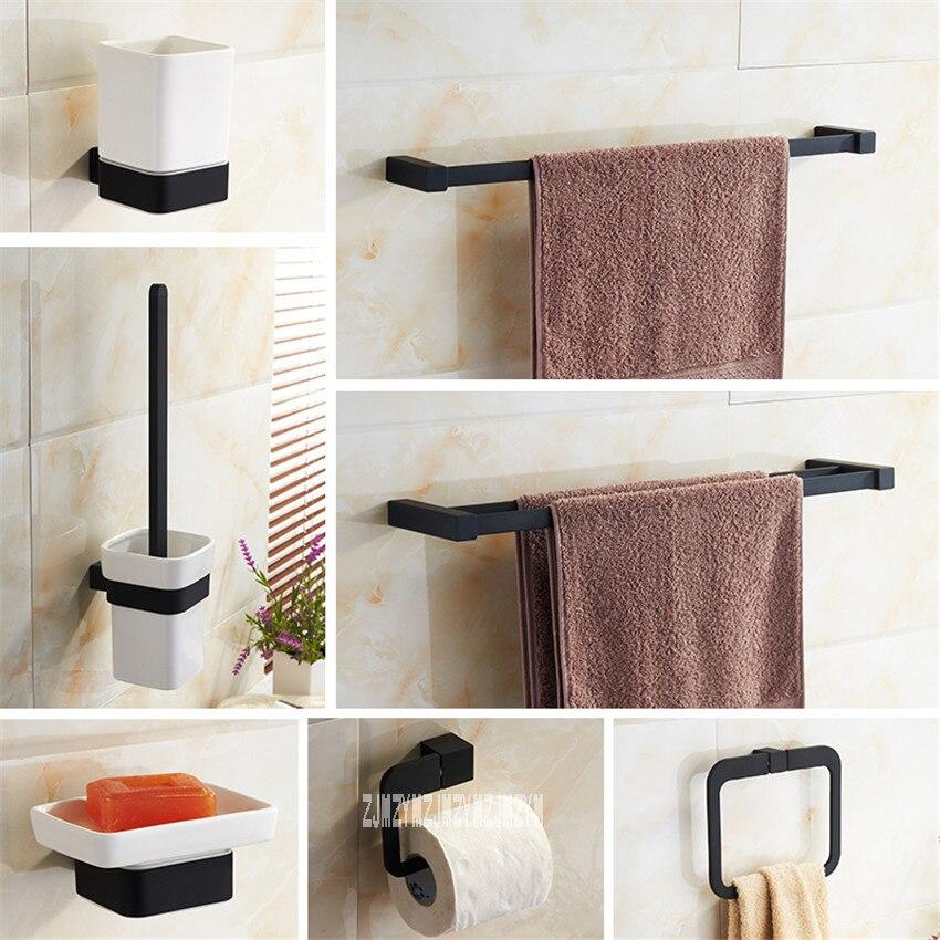 Bathroom 8 Pieces Combination Set Black Simple Lacquer Bathroom Brush Cups Soap Holder Towel Ring Racks Bathroom Hardware Set