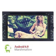 """Двойной Дин Android 6.0 автомобилей Радио стерео 6.2 """"в тире GPS навигации/Bluetooth/USB/SD CD dvd-плеер + Рулевое колесо Управление + WiFi"""