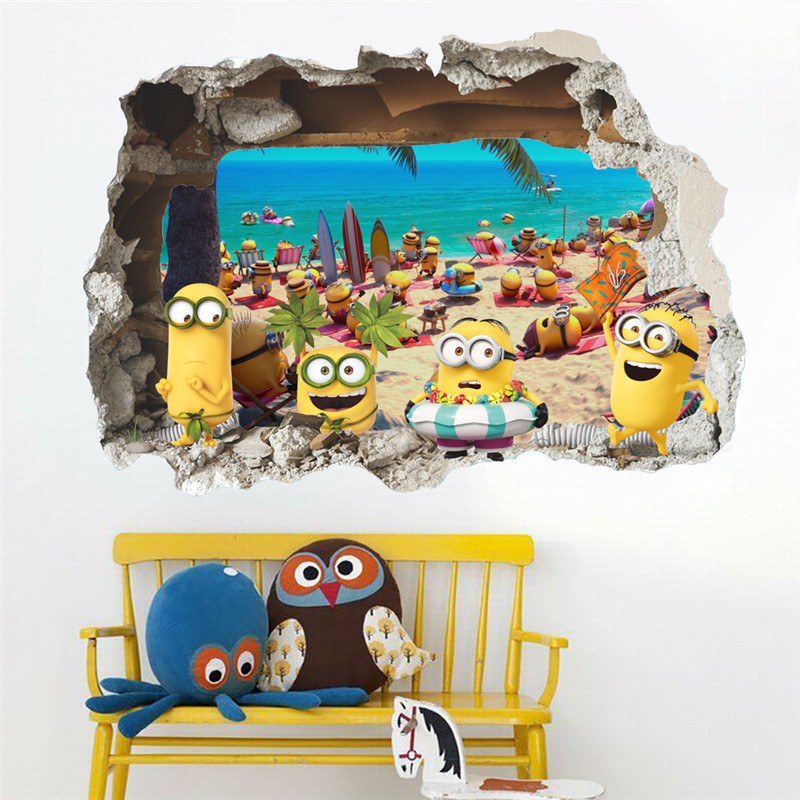 Despicable Me 3D Wall Sticker Wall Paper Decoration for Kids Room, Baby Room Bed Room