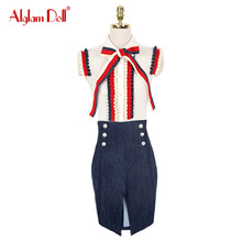 Alglam Doll Women 2 Pieces Set OL Work Office Ladies Vintage Ruffles Bow Patchwork Blouse Top Shirt + Knee Length Skirt Dress